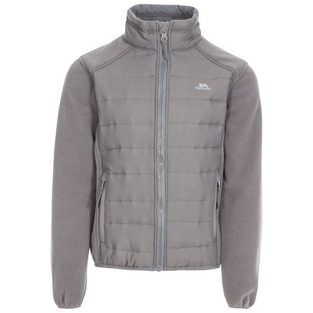 Ludvig Kids' Padded Fleece Jacket in Grey, Front view on mannequin