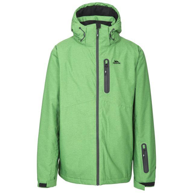 Lurgan Men's Padded Waterproof Ski Jacket in Green, Front view on mannequin