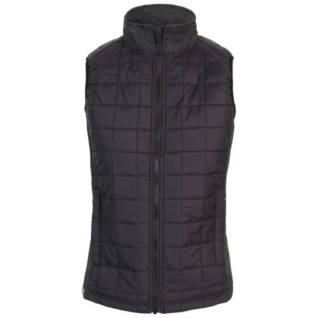 Trespass Womens Gilet Padded Lyla in Black X, Front view on mannequin
