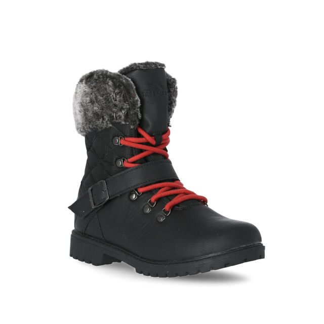 Lynan Women's Winter Boots in Black, Angled view of footwear