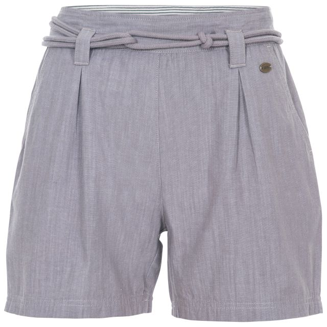 Lynn Women's Cotton Shorts in Grey, Front view on mannequin