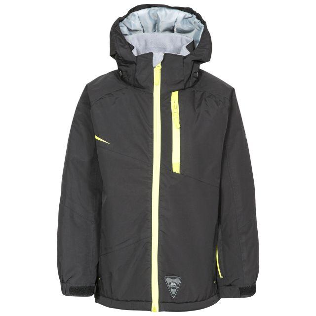 Mander Kids' Ski Jacket in Black, Front view on mannequin