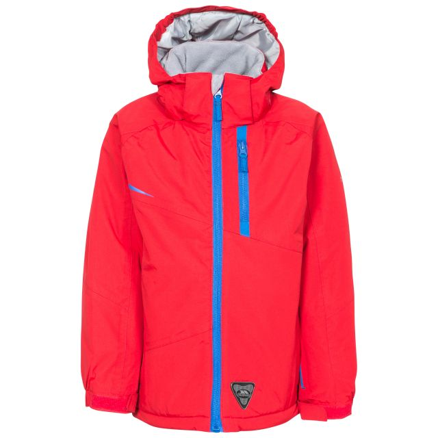 Mander Kids' Ski Jacket in Red, Front view on mannequin