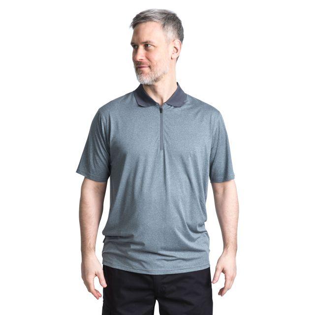 Maraba Men's 1/2 Zip Polo Shirt in Grey, Back view on model