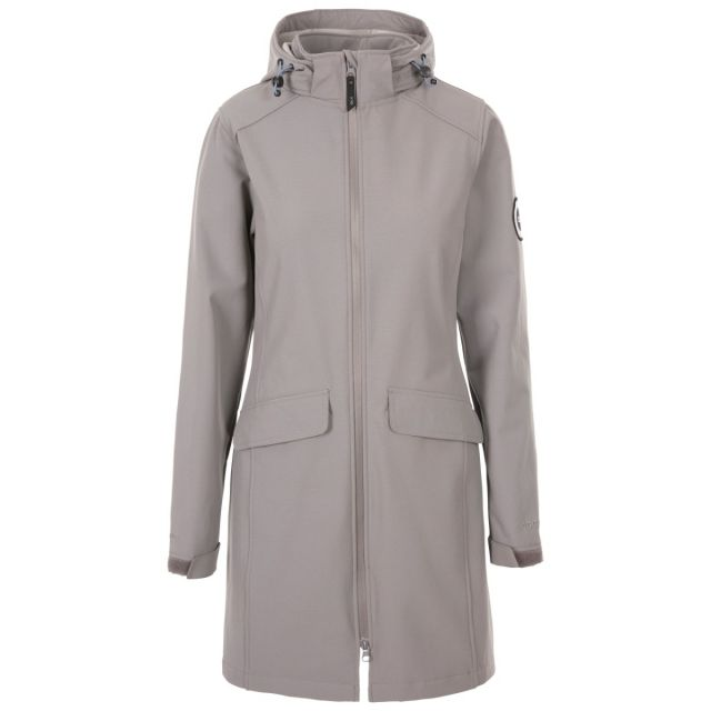 Trespass Women's DLX Softshell Jacket Maria Grey, Front view on mannequin