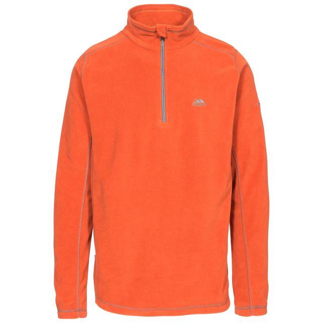 Maringa Men's 1/2 Zip Fleece in Orange, Front view on mannequin