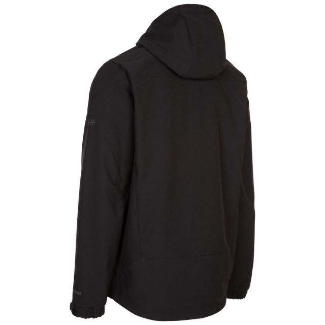 Trespass Mens Softshell Jacket Zip Pockets Chin Guard Marlon Black