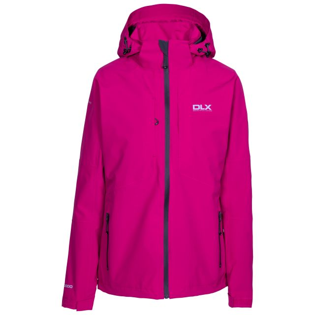DLX Womens Waterproof Jacket Martina in Pink, Front view on mannequin