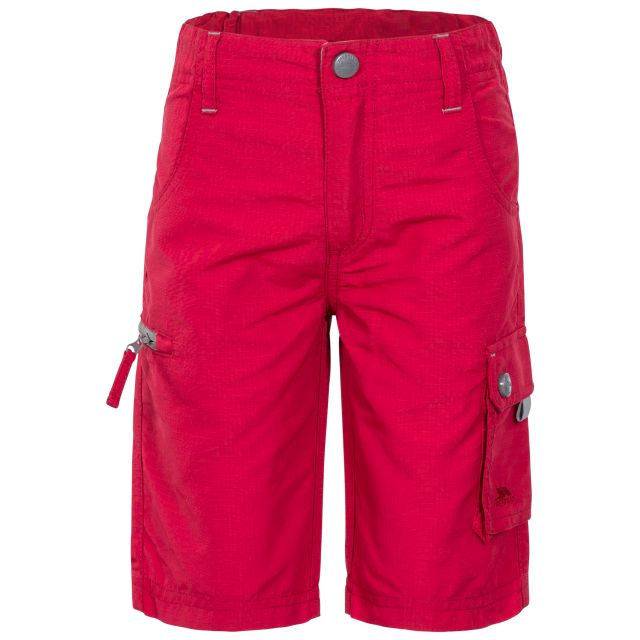 Marty Kids' Cargo Shorts in Red, Front view on mannequin