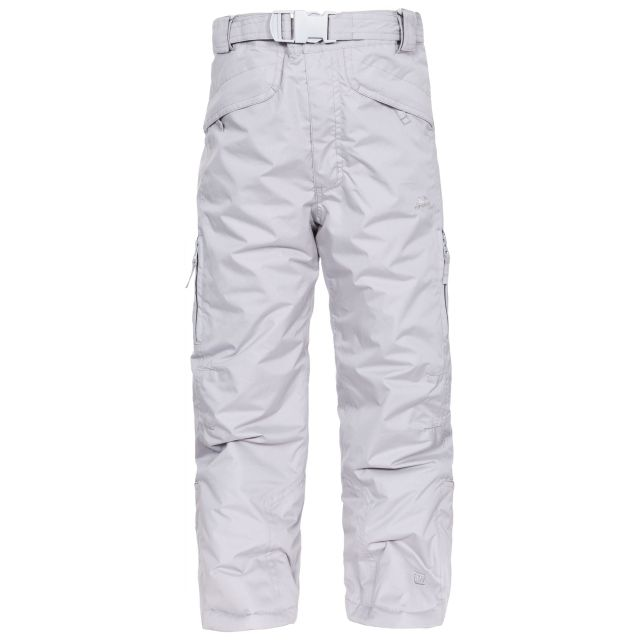 Marvelous Kids' Insulated Salopettes in Grey, Front view on model