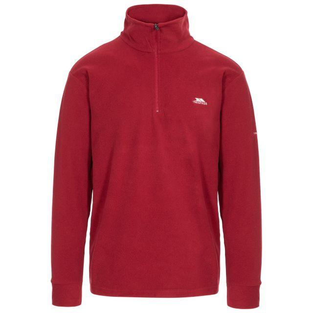 Masonville Men's 1/2 Zip Fleece in Red, Front view on mannequin
