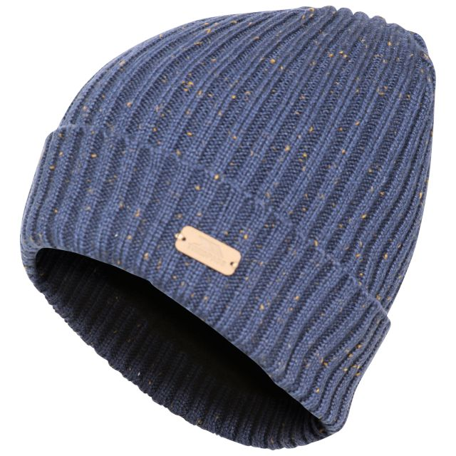 Mateo Men's Beanie Hat in Navy, Hat at angled view