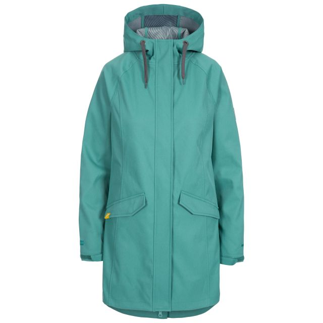 Trespass Womens Softshell Jacket Water Resistant Matilda in Green, Front view on mannequin