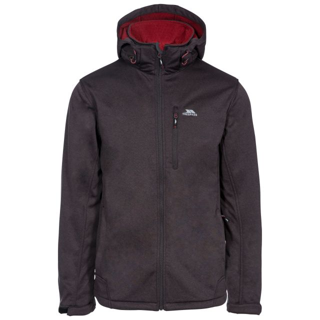 Maynard Men's Breathable Windproof Softshell Jacket in Grey, Front view on mannequin