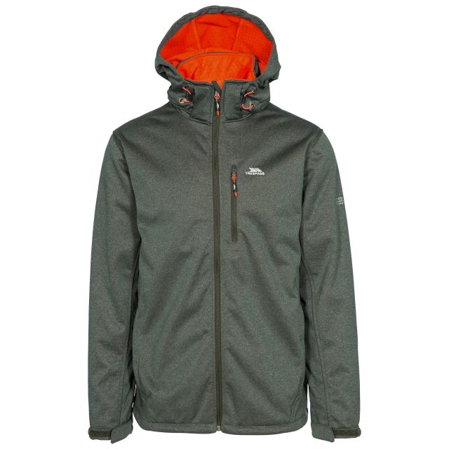 Maynard Men's Breathable Windproof Softshell Jacket in Green, Front view on mannequin