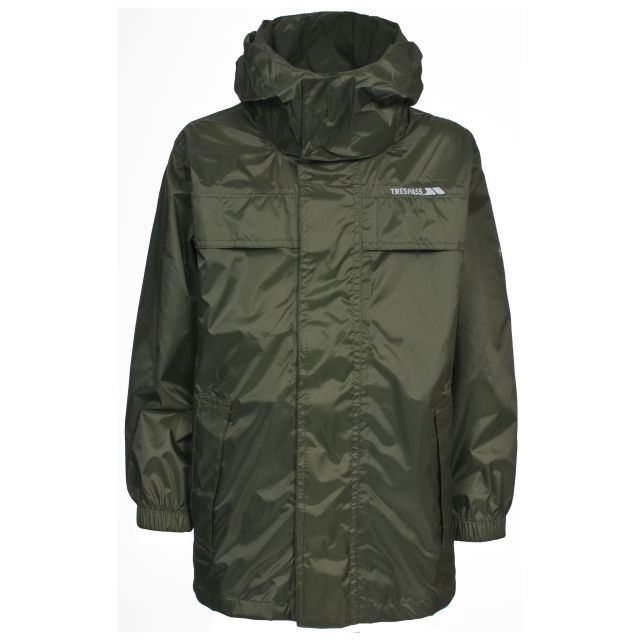 Trespass Kids Waterproof way Jacket in Green Packa