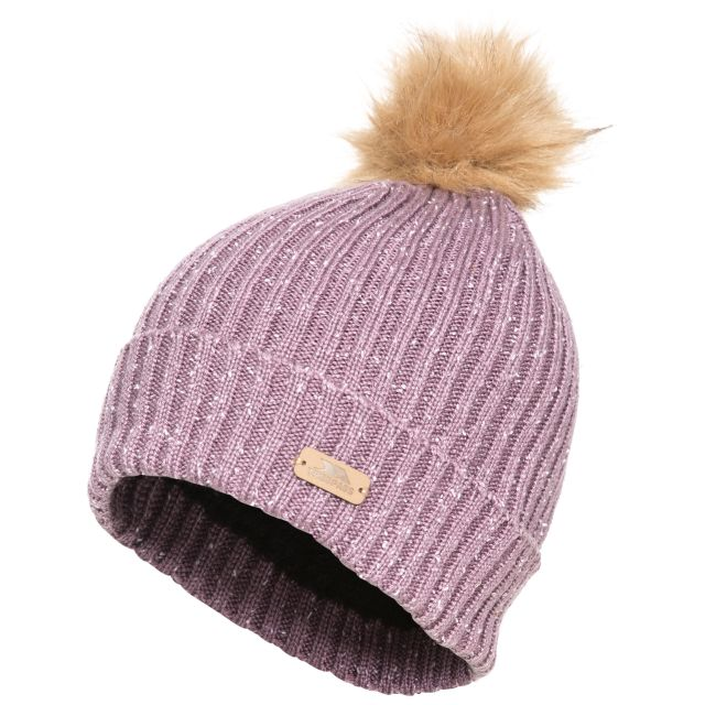 McNally Women's Knitted Bobble Hat in Light Purple, Hat at angled view