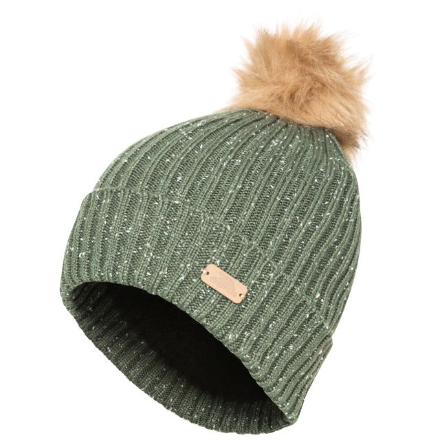 McNally Women's Knitted Bobble Hat in Khaki, Hat at angled view