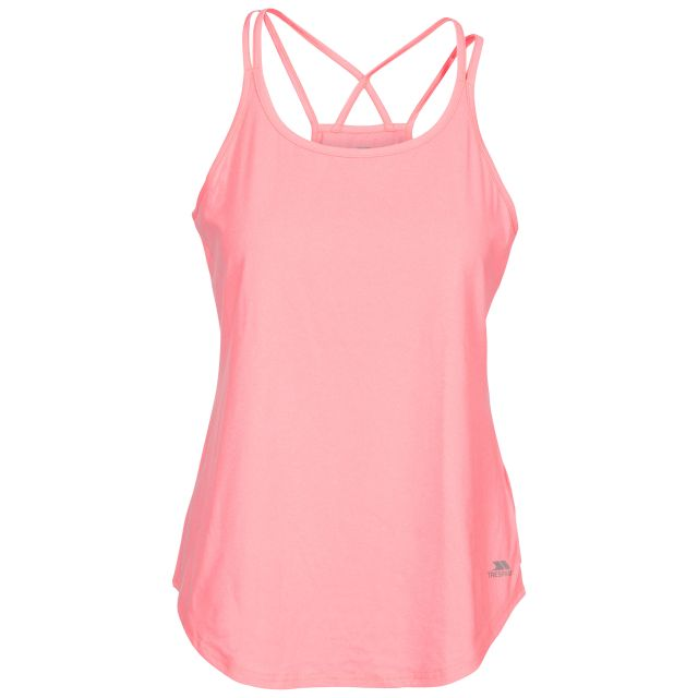 Meghan Women's Sleeveless Active T-shirt in Peach, Front view on mannequin