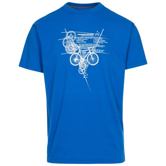 Memento Men's Printed T-Shirt in Blue, Front view on mannequin