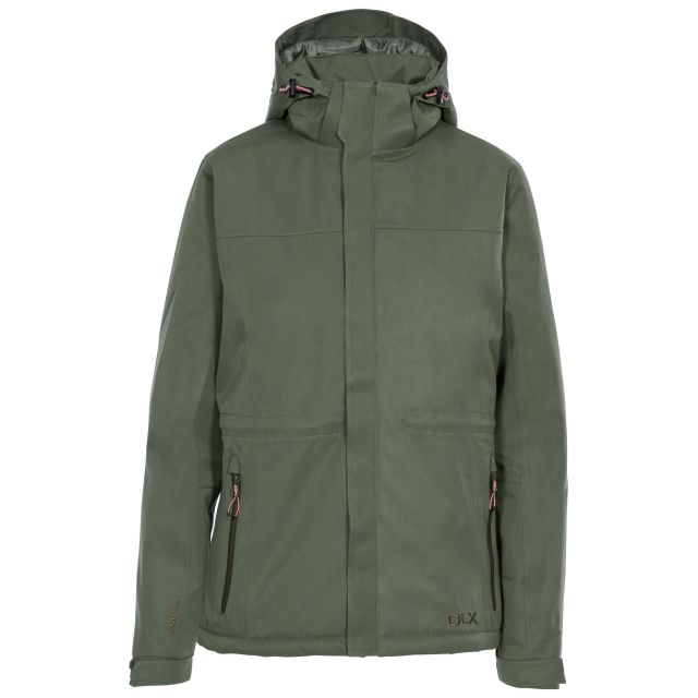 DLX Womens Waterproof Jacket Padded Mendell in Green, Front view on mannequin