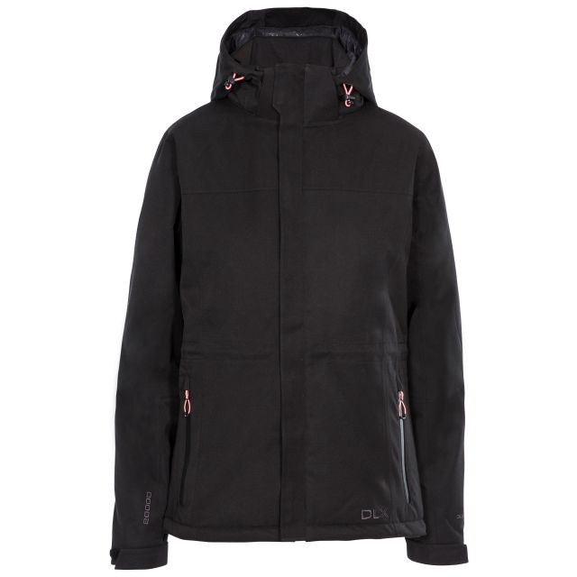 DLX Womens Waterproof Jacket Padded Mendell in Black, Front view on mannequin