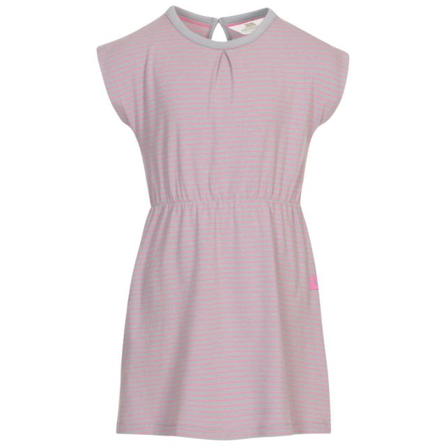 Trespass Kids Short Sleeved Dress Round Neck Mesmerised in Grey, Front view on mannequin