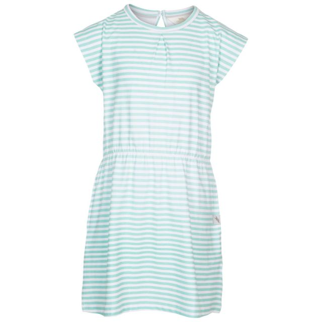 Trespass Kids Short Sleeved Dress Round Neck Mesmerised in Green, Front view on mannequin