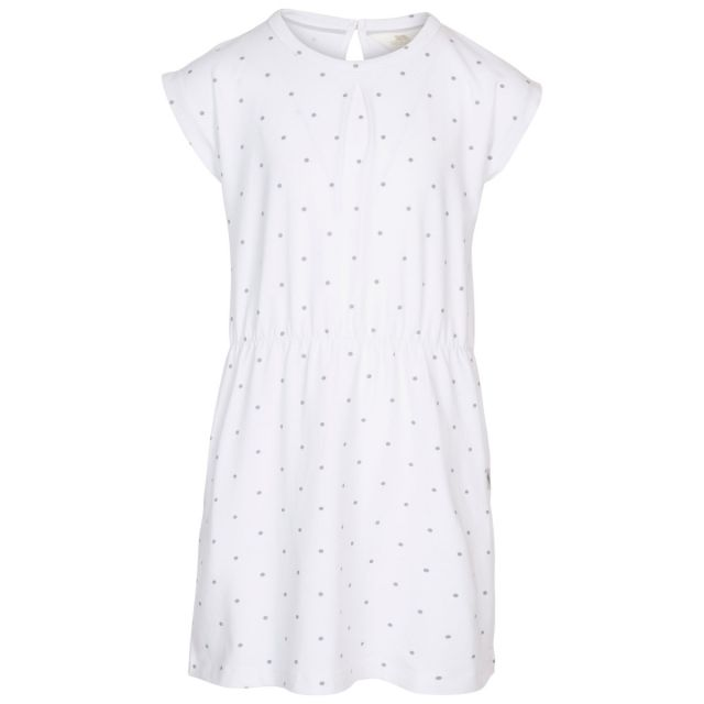 Trespass Kids Short Sleeved Dress Round Neck Mesmerised in White, Front view on mannequin