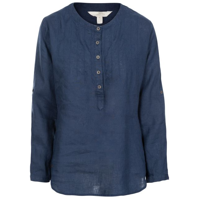 Messina Women's Long Sleeve Linen Blouse in Navy, Front view on mannequin