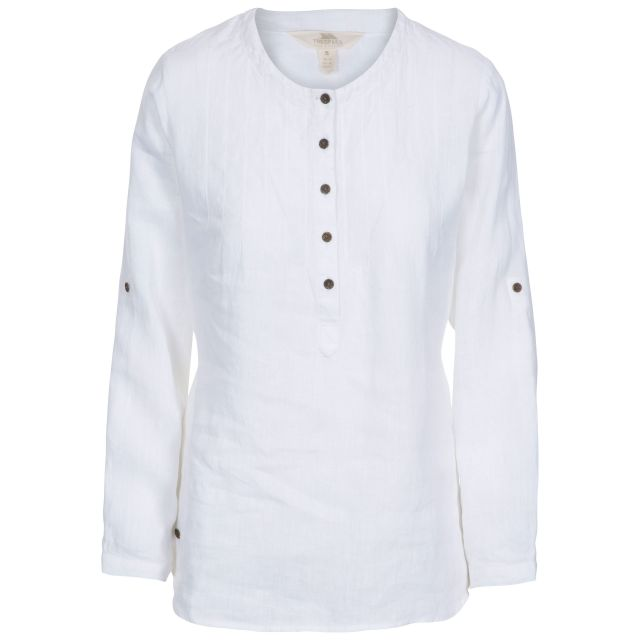 Messina Women's Long Sleeve Linen Blouse in White, Front view on mannequin