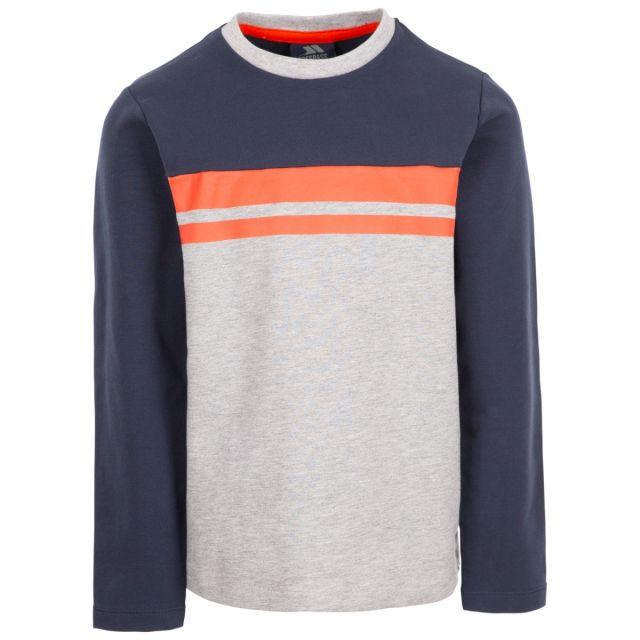 Trespass Kids Long Sleeve Top Round Neck Stripe Method Grey, Front view on mannequin