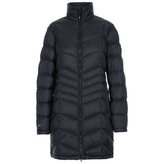 Trespass Womens Down Jacket Lightweight Micaela in Black, Front view on mannequin