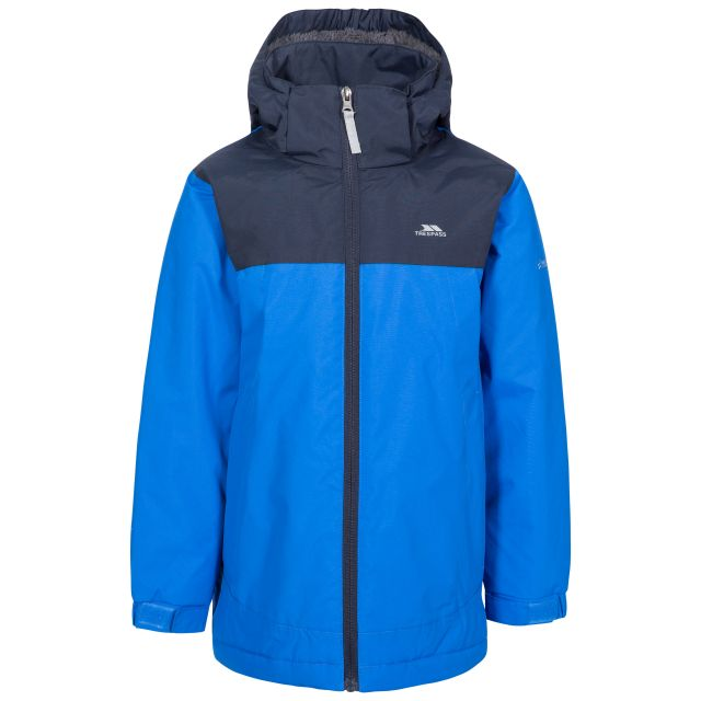 Mikael Kids' Padded Waterproof Jacket in Blue, Front view on mannequin