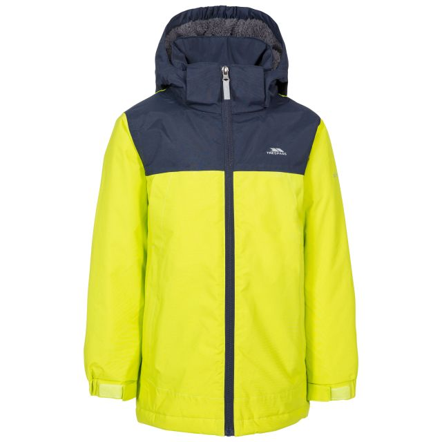 Mikael Kids' Padded Waterproof Jacket in Green, Front view on mannequin