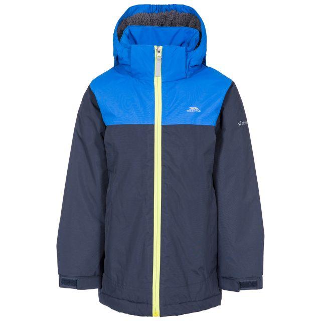 Mikael Kids' Padded Waterproof Jacket in Navy, Front view on mannequin