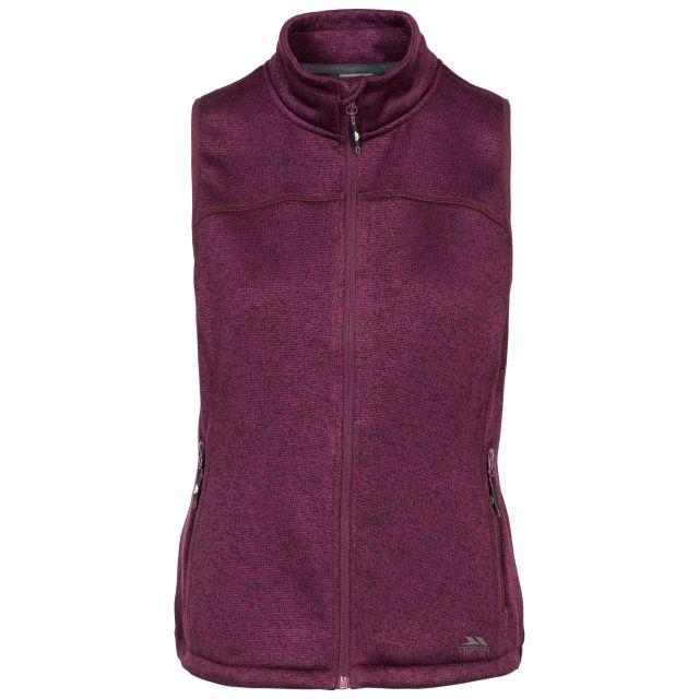 Mildred Women's Fleece Gilet in Purple, Front view on mannequin