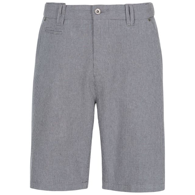 Miner Men's Cotton Travel Shorts in Grey, Front view on mannequin