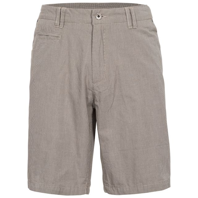 Miner Men's Cotton Travel Shorts in Beige, Front view on mannequin