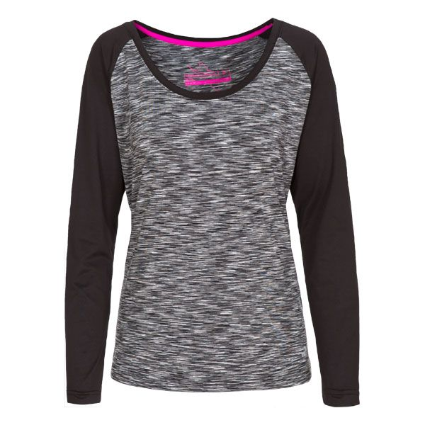 Miso Women's Long Sleeve Active T-Shirt in Light Grey, Front view on mannequin