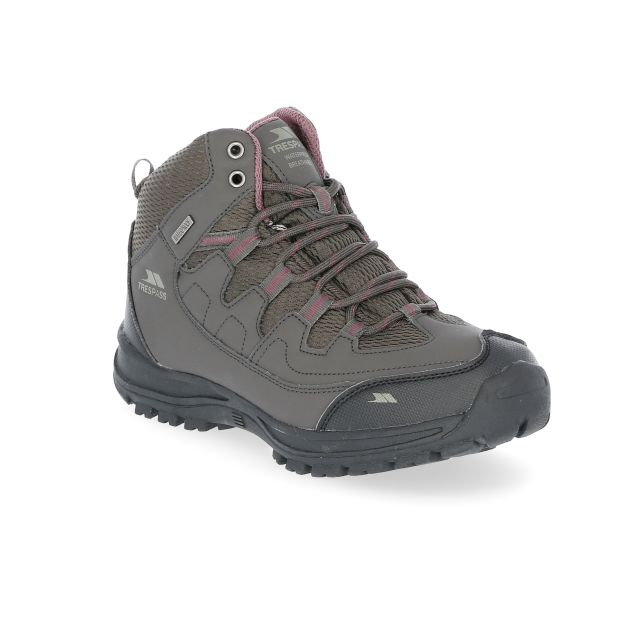Mitzi Women's Waterproof Walking Boots in Brown, Angled view of footwear