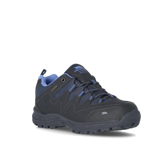 Mitzi Women's Waterproof Walking Shoes in Grey, Angled view of footwear