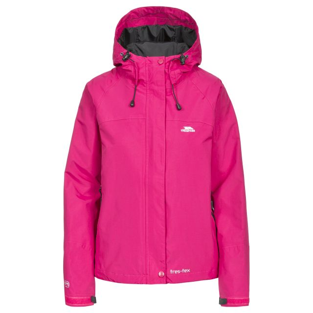 Trespass Womens Waterproof Jacket Hooded Miyake in Pink