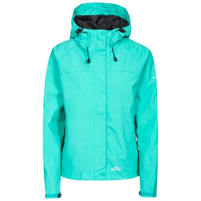 Trespass Womens Waterproof Jacket Hooded Miyake, Front view on mannequin