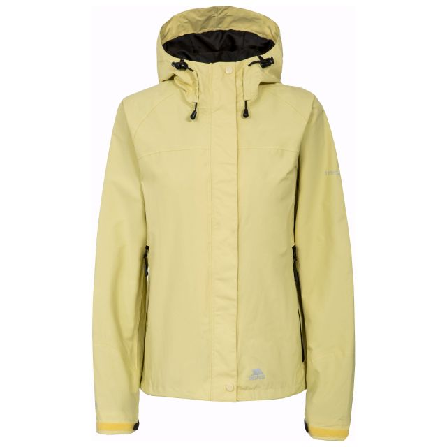 Trespass Womens Waterproof Jacket Hooded Miyake in Light Blue, Front view on mannequin