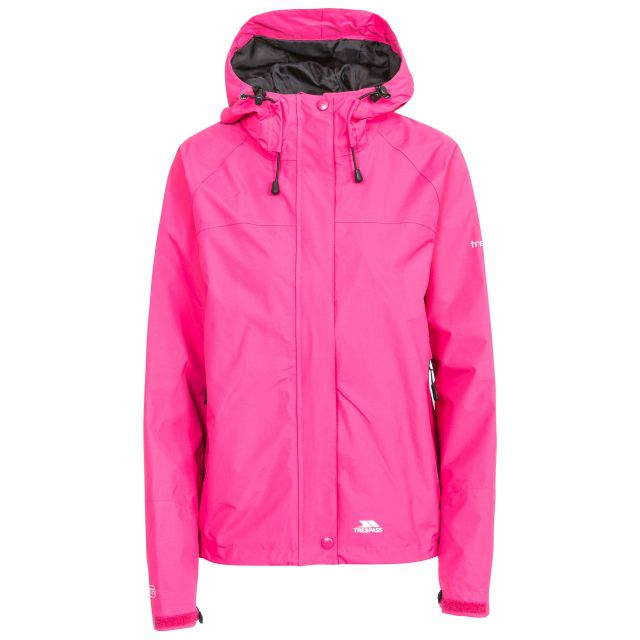 Trespass Womens Waterproof Jacket Hooded Miyake in Pink Lady, Front view on mannequin