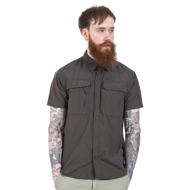 Colly Men's Short Sleeve Mosquito Repellent Shirt in Khaki