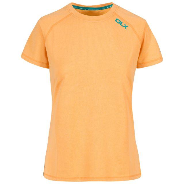 Monnae Women's DLX Quick Dry Active T-shirt in Orange, Front view on mannequin