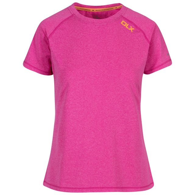 Monnae Women's DLX Quick Dry Active T-shirt in Pink, Front view on mannequin