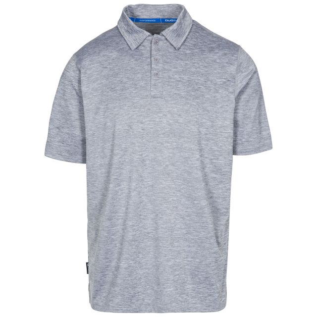 Monocle Men's Quick Dry Polo Shirt in Light Grey, Front view on mannequin